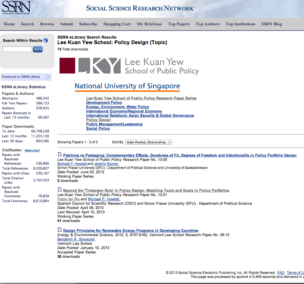 SSRN Policy Design Working Papers