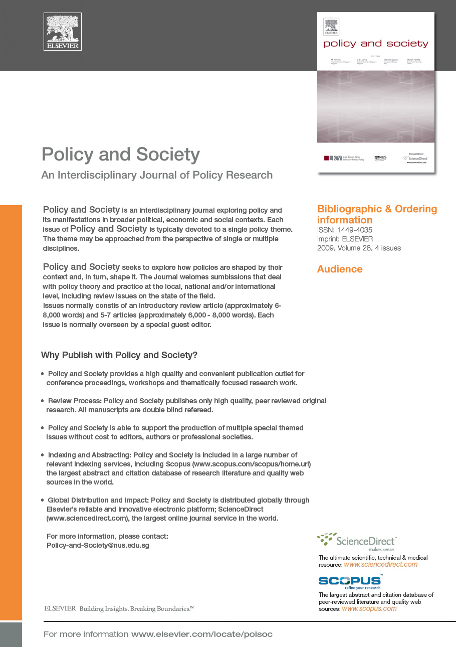 Policy & Society 2013 Issue on Policy Work